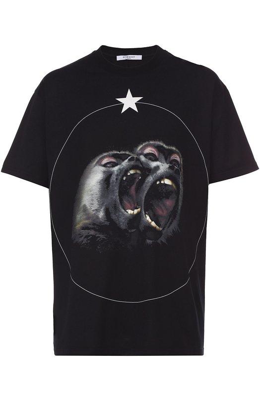 Хлопковая футболка с принтом Givenchy 16F/7361/651