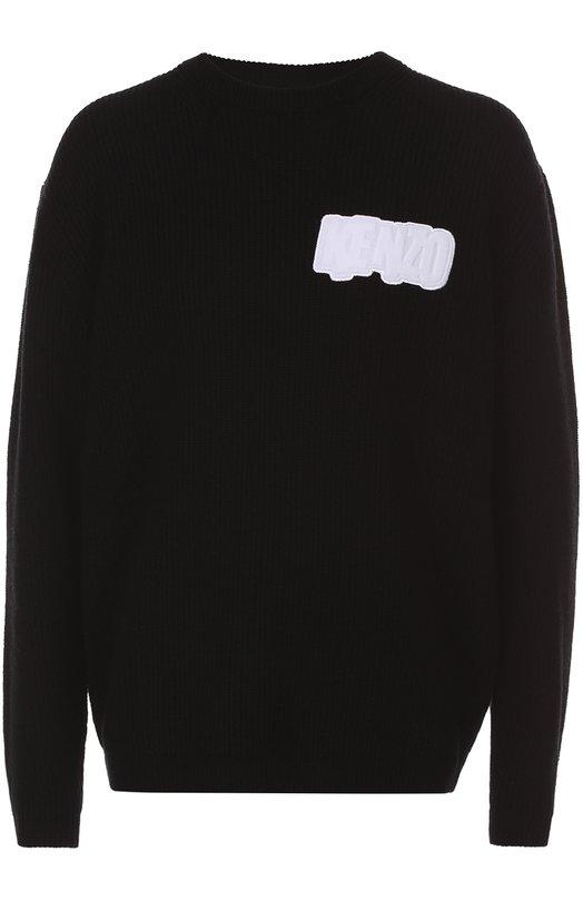 Шерстяной свитер с контрастной нашивкой KenzoСвитеры<br><br><br>Российский размер RU: 46<br>Пол: Мужской<br>Возраст: Взрослый<br>Размер производителя vendor: S<br>Материал: Шерсть: 100%;<br>Цвет: Черный