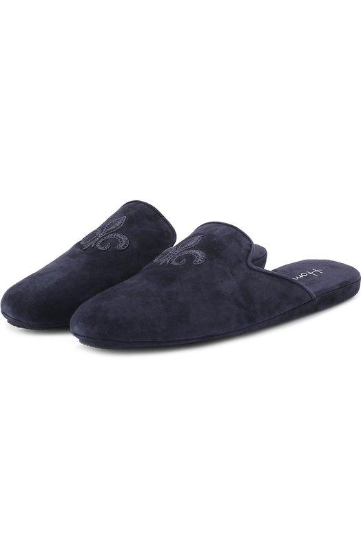 Купить Домашние замшевые туфли с вышивкой Homers At Home, 17418/ANTE, Испания, Темно-синий, Подошва-Кожа: 60%; Подошва-Резина: 40%; Замша натуральная: 100%; Стелька-Замша: 100%; Подошва-Замша: 100%; Подкладка-Кожа: 100%; Кожа: 100%;