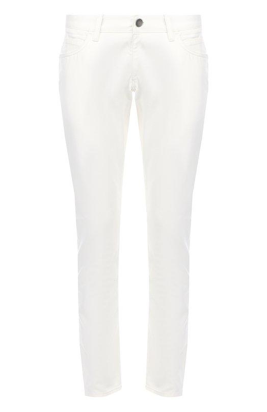 Зауженные джинсы с вышивкой на заднем кармане Dolce &amp; GabbanaДжинсы<br><br><br>Российский размер RU: 46<br>Пол: Мужской<br>Возраст: Взрослый<br>Размер производителя vendor: 46<br>Материал: Лиоселл: 60%; Вискоза: 40%;<br>Цвет: Белый