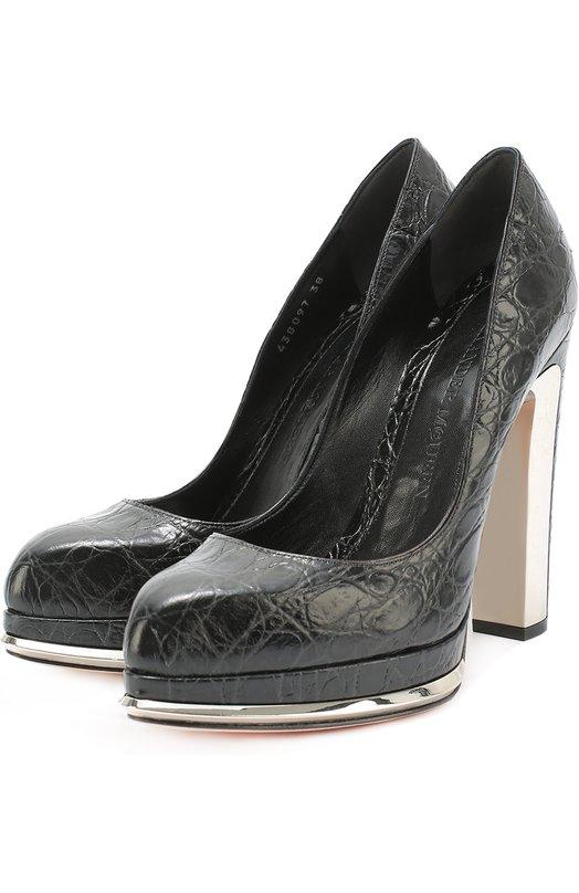 Туфли из фактурной кожи на устойчивом каблуке Alexander McQueen 438097/WHNN1