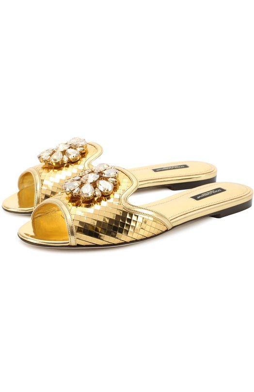 Кружевные шлепанцы Bianca с кристаллами Dolce & Gabbana 0112/CQ0023/AB586