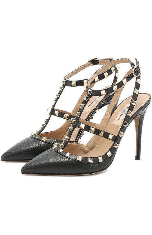 Купить Кожаные туфли Valentino Garavani Rockstud с ремешками Valentino, MW2S0393/VCE, Италия, Черный, Кожа натуральная: 100%; Стелька-кожа: 100%; Подошва-кожа: 100%;