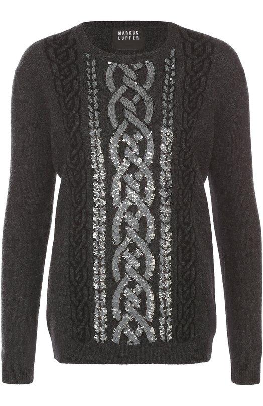 Пуловер прямого кроя с контрастной вышивкой пайетками Markus LupferСвитеры<br><br><br>Российский размер RU: 46<br>Пол: Женский<br>Возраст: Взрослый<br>Размер производителя vendor: M<br>Материал: Шерсть: 100%;<br>Цвет: Черный