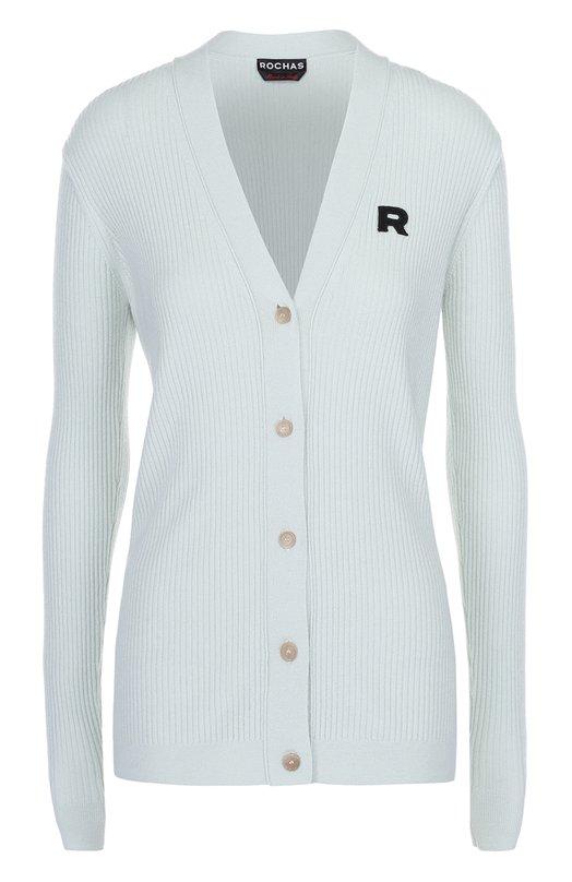 Кардиган фактурной вязки с логотипом бренда Rochas R0PI750467/RIY2100