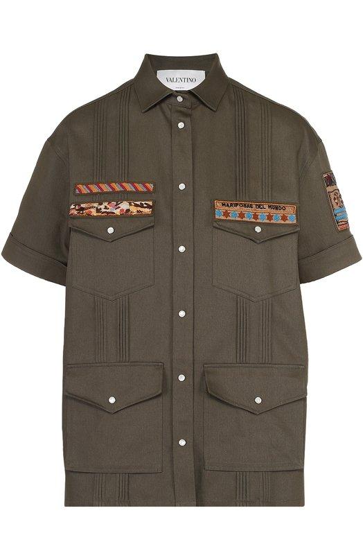 Хлопковый жакет с контрастной вышивкой и накладными карманами Valentino MBCCE01F/2Q9