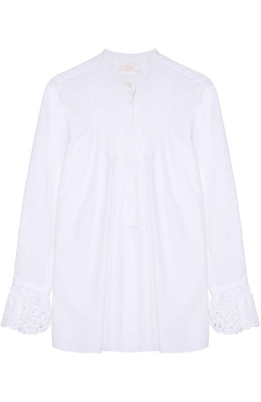 Хлопковая блуза свободного кроя с кружевной отделкой Chlo?Блузы<br><br><br>Российский размер RU: 42<br>Пол: Женский<br>Возраст: Взрослый<br>Размер производителя vendor: 36<br>Материал: Хлопок: 100%;<br>Цвет: Белый
