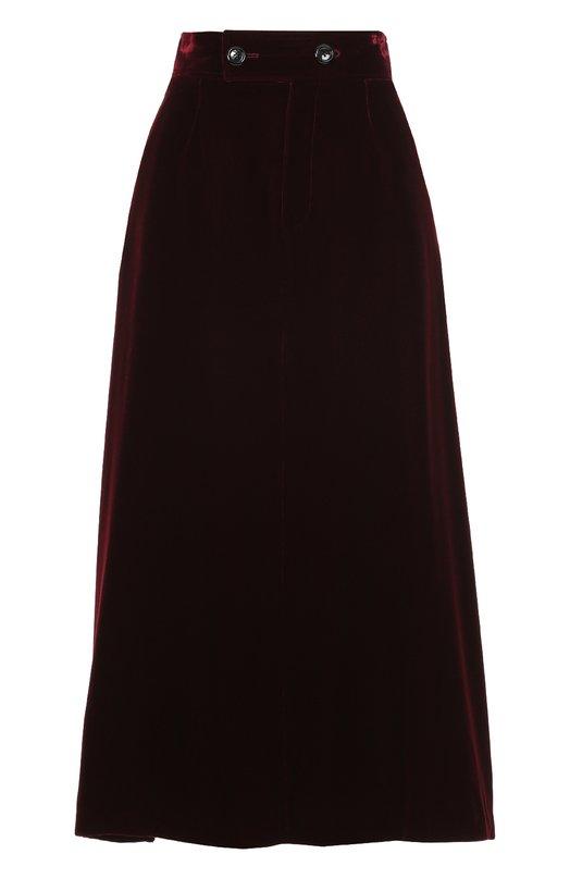 Бархатная юбка-миди с широким поясом Saint Laurent 436757/Y025W