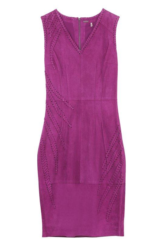 Облегающее замшевое платье со шнуровкой Elie TahariПлатья<br><br><br>Российский размер RU: 42<br>Пол: Женский<br>Возраст: Взрослый<br>Размер производителя vendor: 4<br>Материал: Подкладка-полиэстер: 88%; Подкладка-эластан: 12%; Замша натуральная: 100%;<br>Цвет: Фиолетовый