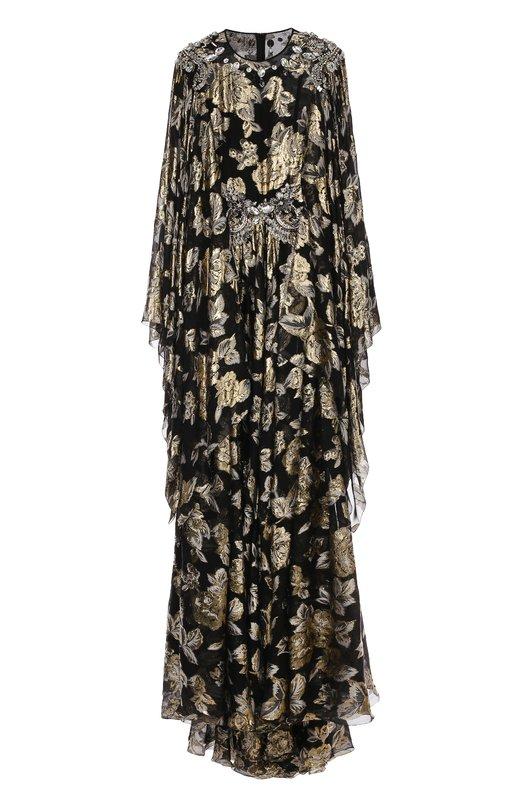 Шелковое платье асимметричного кроя с подолом и металлизированной отделкой Dolce & Gabbana 0102/F6WM0Z/FJMWH