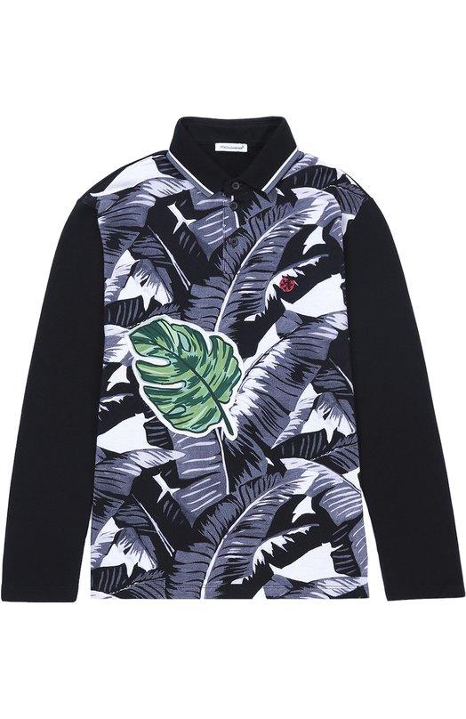 Хлопковое поло с длинными рукавами Dolce & Gabbana 0131/L4JT5B/G7J0S/2-6