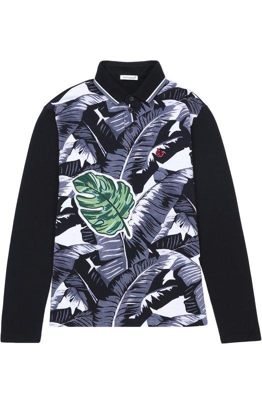 Хлопковое поло с длинными рукавами Dolce & Gabbana 0131/L4JT5B/G7J0S/8-12