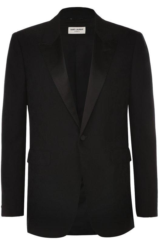 Шерстяной приталенный пиджак с шелковыми лацканами Saint Laurent