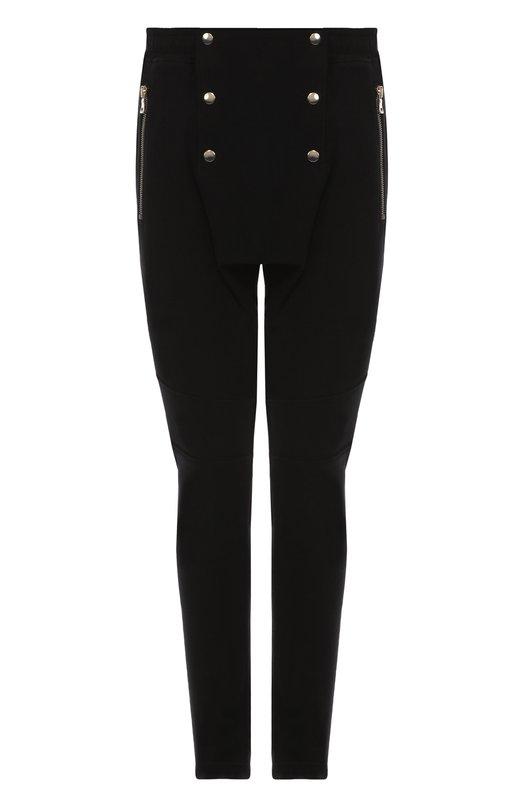Хлопковые брюки с заниженной линией шага и декоративными пуговицами BalmainБрюки<br><br><br>Российский размер RU: 52<br>Пол: Мужской<br>Возраст: Взрослый<br>Размер производителя vendor: XL<br>Материал: Хлопок: 100%;<br>Цвет: Черный
