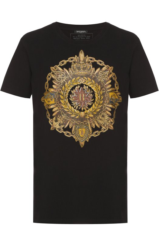 Хлопковая футболка с принтом Balmain J601/I0060
