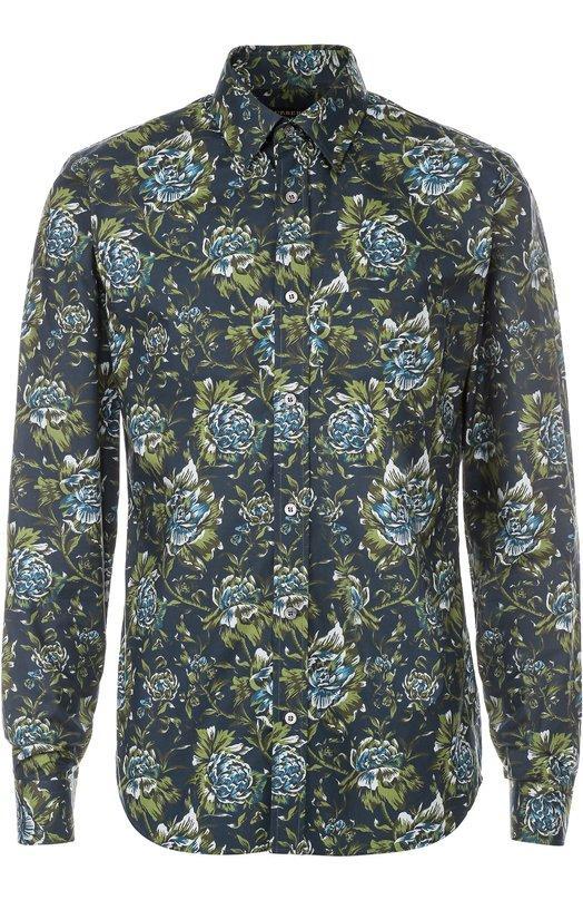 Хлопковая рубашка с цветочным принтом BurberryРубашки<br><br><br>Российский размер RU: 42<br>Пол: Мужской<br>Возраст: Взрослый<br>Размер производителя vendor: 42<br>Материал: Хлопок: 100%;<br>Цвет: Зеленый