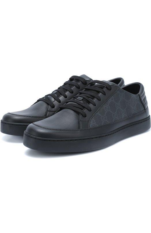 Кожаные кеды с принтом GG Supreme на шнуровке Gucci 433716/A9LN0