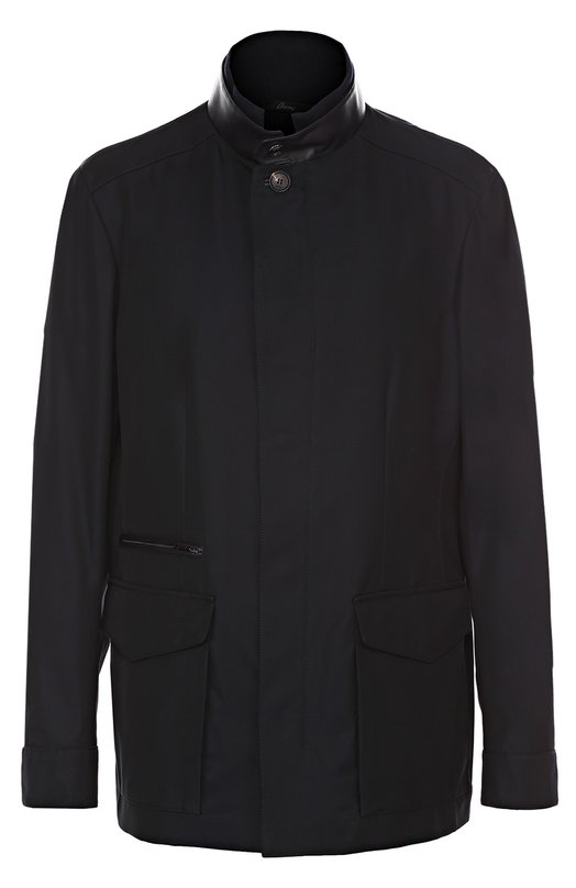 Куртка из смеси хлопка и шелка с отделкой из натуральной кожи Brioni SFMG/P6002