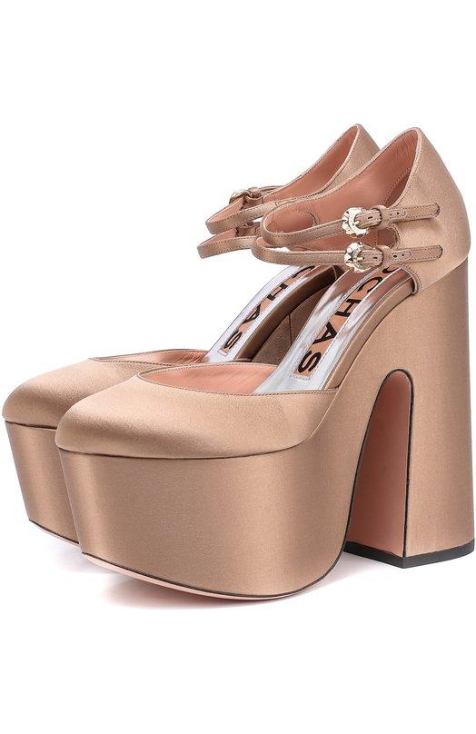 Атласные туфли на массивном каблуке и платформе RochasТуфли<br>Бежевые туфли из плотного матового сатина вошли в осенне-зимнюю коллекцию бренда, основанного Марселем Роша. Платформа снижает подъем, поэтому ноги будут уставать гораздо меньше. Обувь фиксируется на щиколотке двумя тонкими ремешками с пряжками.<br><br>Российский размер RU: 38<br>Пол: Женский<br>Возраст: Взрослый<br>Размер производителя vendor: 38-5<br>Материал: Текстиль: 98%; Кожа натуральная: 2%; Стелька-кожа: 100%; Подошва-кожа: 100%;<br>Цвет: Бежевый