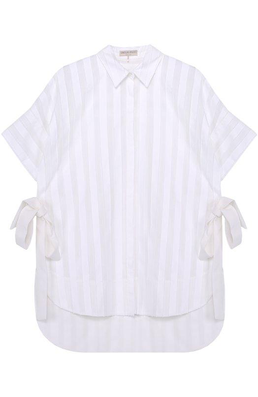 Блуза прямого кроя с удлиненной спинкой и бантами Emilio Pucci 71/RJ25/71704