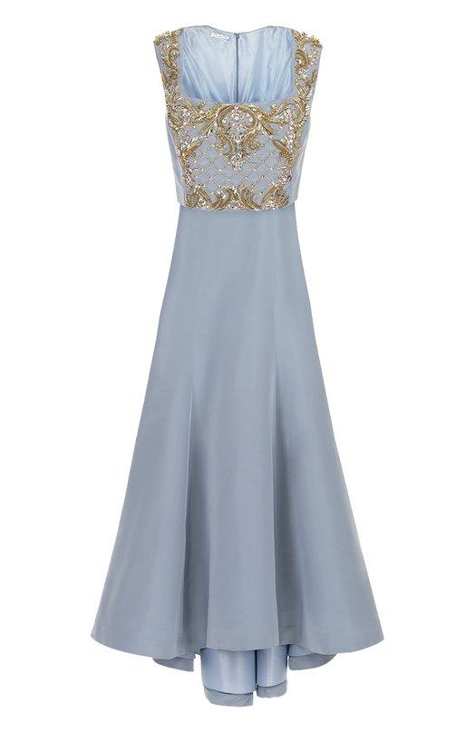 Купить Шелковое платье в пол с контрастной вышивкой бисером и кристаллами Oscar de la Renta, F16E099FRB, США, Голубой, Шелк: 100%; Подкладка-шелк: 100%;