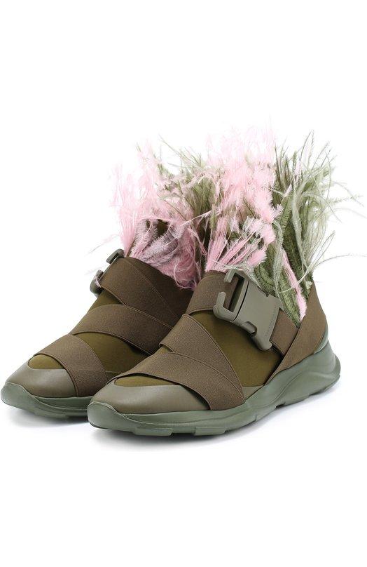 Комбинированные кроссовки с отделкой пером страуса Christopher Kane 431644/UX126