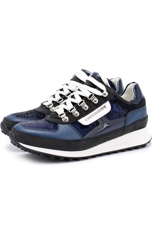 Комбинированные кроссовки с пайетками Dsquared2 S17K505/1197