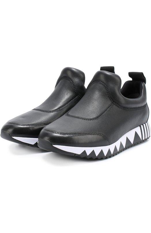 Кожаные кроссовки на подошве с принтом Tory Burch 32717