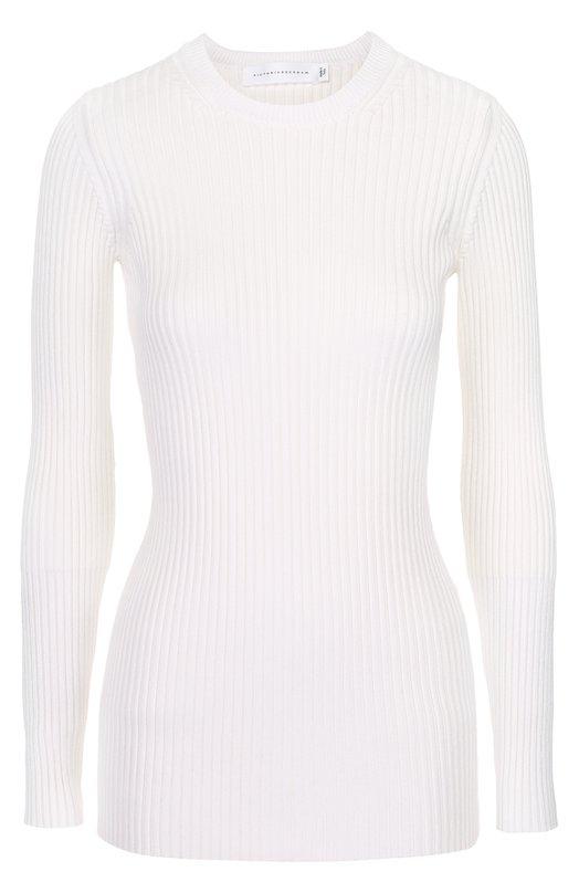 Облегающий пуловер фактурной вязки с круглым вырезом Victoria Beckham JUM KNT 036 PSS17/C0TT0N RIB SHINE
