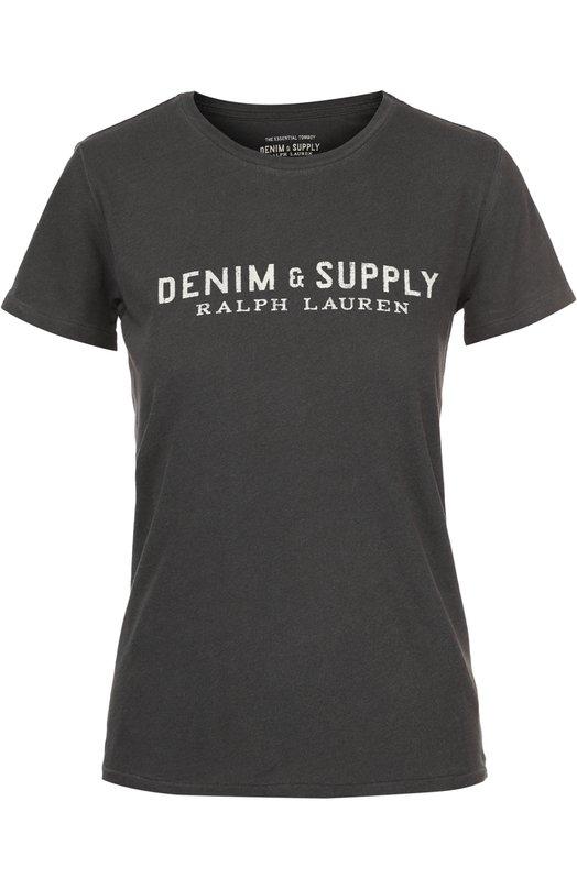 Хлопковая футболка прямого кроя с круглым вырезом Denim&amp;Supply by Ralph LaurenФутболки<br><br><br>Российский размер RU: 46<br>Пол: Женский<br>Возраст: Взрослый<br>Размер производителя vendor: M<br>Материал: Хлопок: 100%;<br>Цвет: Черный