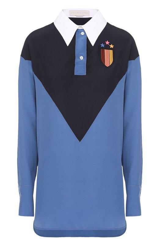 Шелковая блуза прямого кроя с контрастной отделкой Stella McCartney 431609/SY206