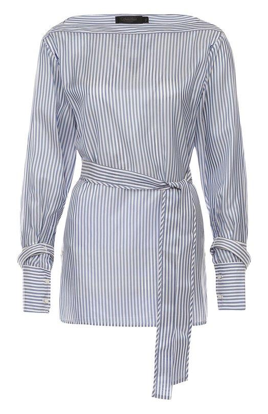 Блуза в полоску с поясом и вырезом-лодочка Calvin Klein Collection W71T071/WV018
