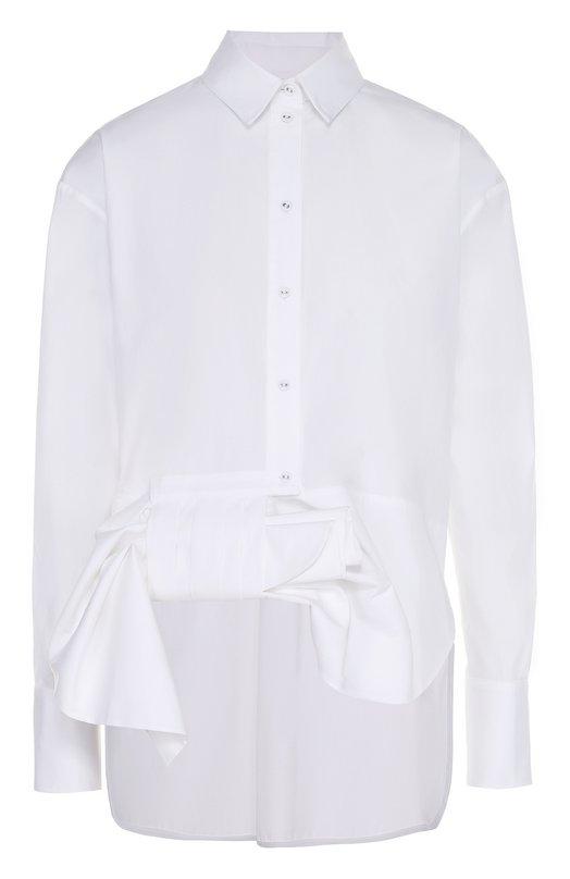 Хлопковая блуза прямого кроя с декоративной отделкой Victoria by Victoria Beckham SHVV 004A SS17/C0TT0N P0PLIN