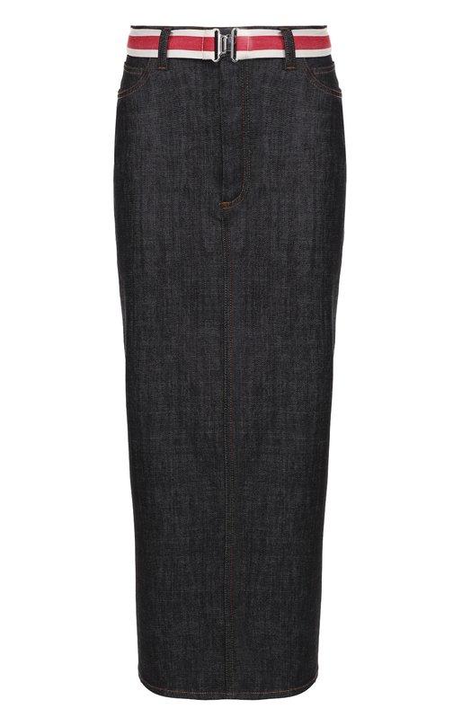 Джинсовая юбка-карандаш с высоким разрезом и контрастным поясом Victoria by Victoria Beckham VBS159 444
