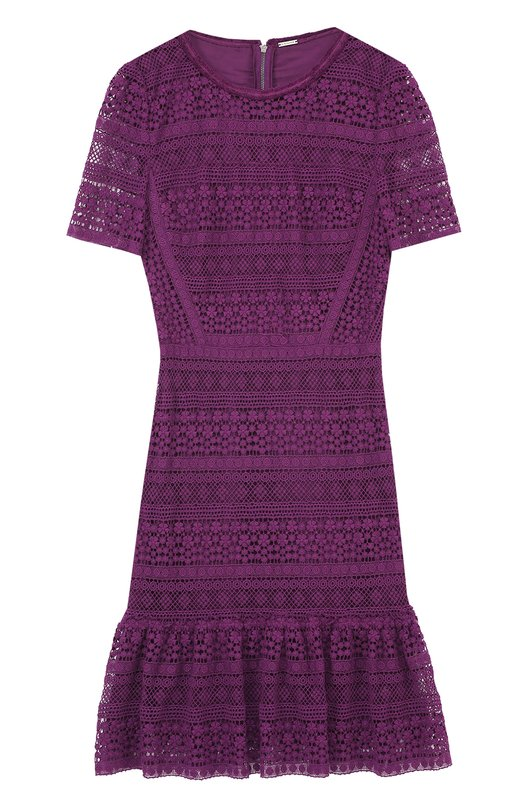 Кружевное мини-платье с коротким рукавом и баской Elie Tahari E602H606