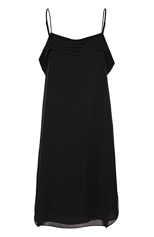 Шелковое платье с открытыми плечами и оборками T by Alexander Wang 403409R17