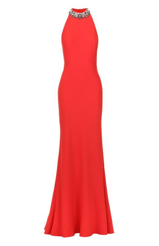 Приталенное платье-макси с открытой спиной и декоративной отделкой Alexander McQueen 460782/QIE40