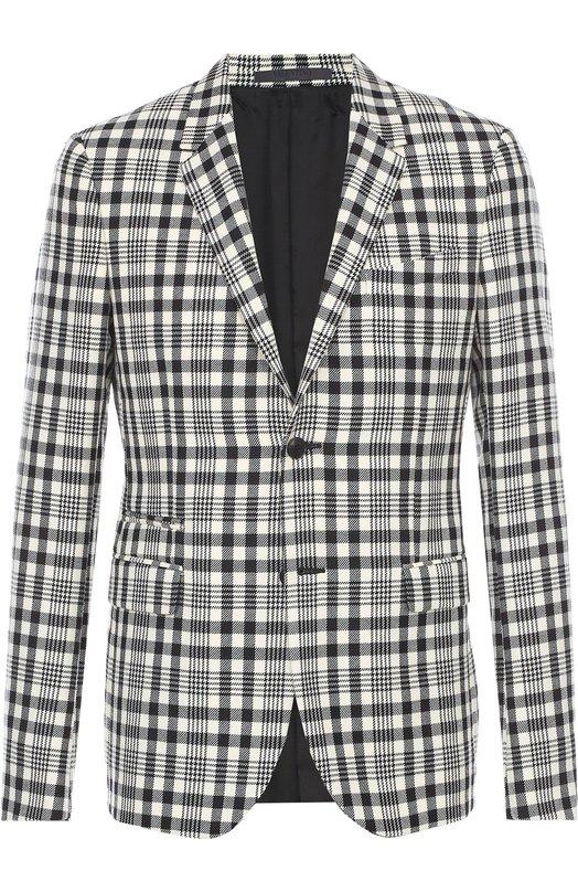 Шерстяной приталенный пиджак в клетку Valentino LV0CES04/3RQ
