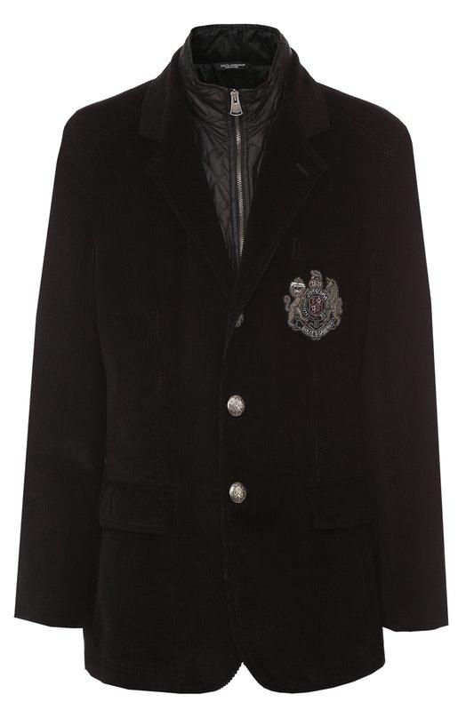 Купить Утепленная куртка из вельвета с вышивкой канителью Dolce & Gabbana, 0101/G2IW4Z/FUVC7, Италия, Черный, Отделка-медь: 85%; Подкладка-полиэстер: 66%; Отделка-вискоза: 5%; Отделка-металлизир.волокно: 5%; Отделка-стекло: 5%; Подкладка-полиамид: 34