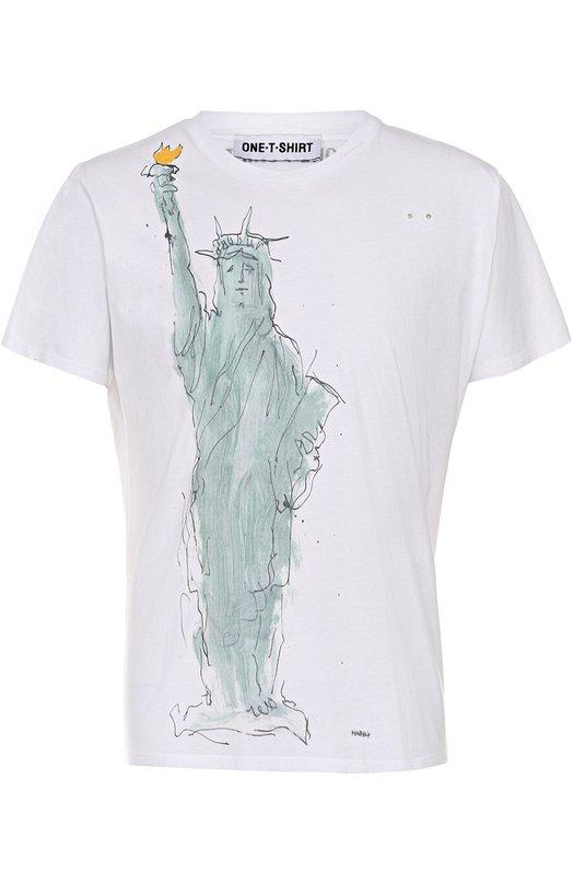 Купить Хлопковая футболка с принтом One-T-Shirt, LIBERTY/T-SHIRT, Португалия, Белый, Хлопок: 100%;