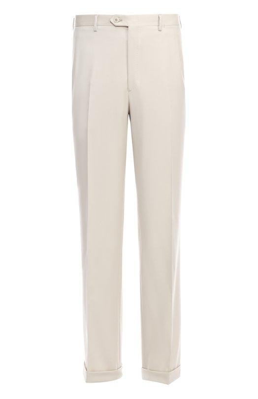 Шерстяные брюки прямого кроя Brioni, RPL1/PZA0R/C0RTINA, Италия, Светло-бежевый, Шерсть: 100%;  - купить