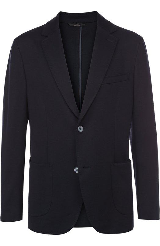 Однобортный пиджак из смеси шелка и хлопка Brioni UMCZ/P6K27