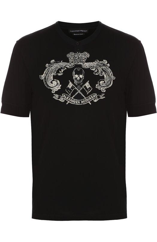Хлопковая футболка хенли с принтом Alexander McQueen 453149/QIZP7