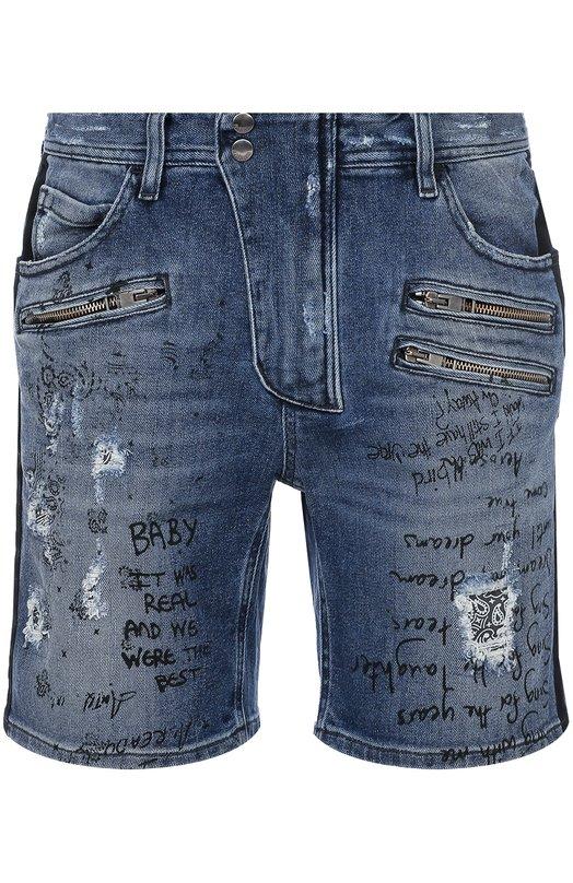 Джинсовые шорты с потертостями и надписями Just Cavalli S01MU0026/N31129
