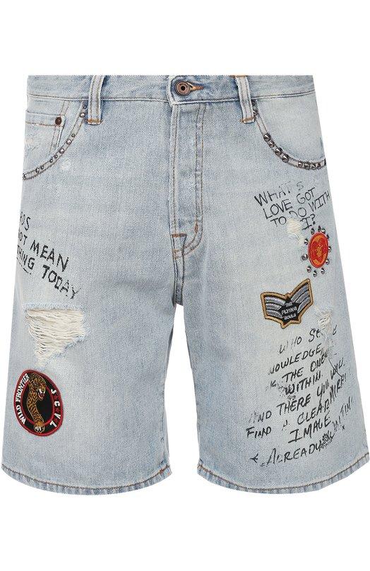 Джинсовые шорты с нашивками и надписями Just Cavalli S01MU0029/N31133
