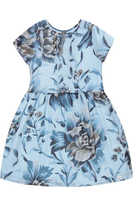 Платье из шелка с цветочным принтом Burberry 4043031