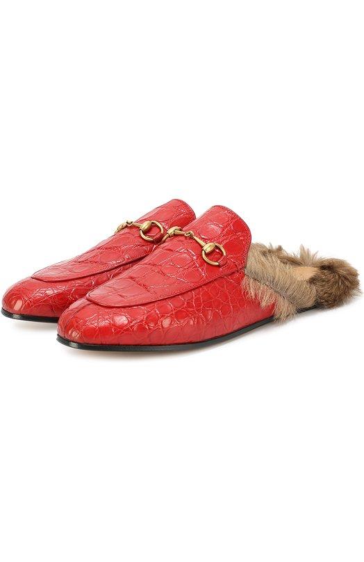 Купить Сабо Princetown из кожи крокодила с пряжкой-трензелем Gucci, 397749/E8NP0, Италия, Красный, Подошва-кожа: 100%; Кожа/крокодил/: 100%; Стелька-кенгуру: 100%;