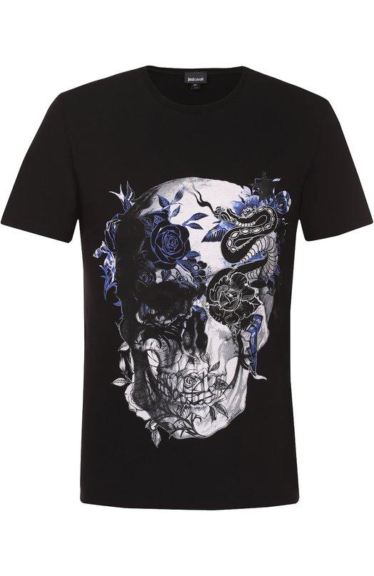 Хлопковая футболка с принтом Just CavalliФутболки<br><br><br>Российский размер RU: 54<br>Пол: Мужской<br>Возраст: Взрослый<br>Размер производителя vendor: XXL<br>Материал: Хлопок: 92%; Эластан: 8%;<br>Цвет: Черный