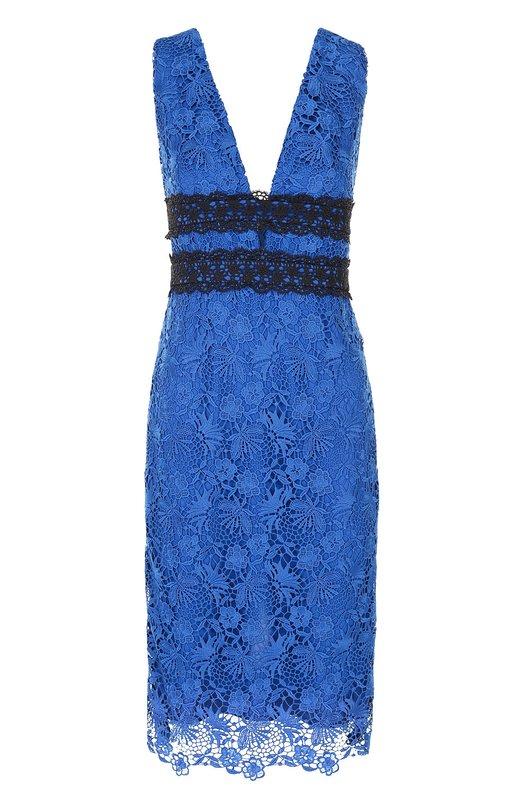 Кружевное облегающее платье с V-образным вырезом Diane Von FurstenbergПлатья<br><br><br>Российский размер RU: 50<br>Пол: Женский<br>Возраст: Взрослый<br>Размер производителя vendor: 12<br>Материал: Подкладка-полиэстер: 97%; Подкладка-эластан: 3%; Полиэстер: 100%;<br>Цвет: Синий
