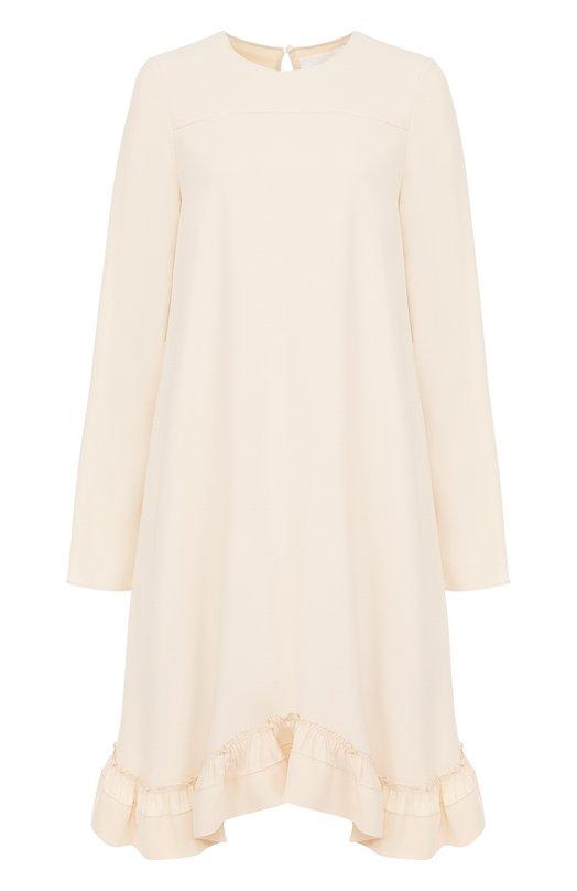 Платье свободного кроя с длинным рукавом и оборками Chloe 17SR024/17S237